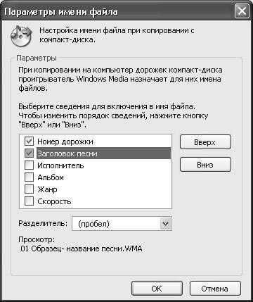 Налаштування в Windows Media Player 10
